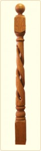 Hollow Rope Wood Newel Post: Colonial Spindle,  5 in